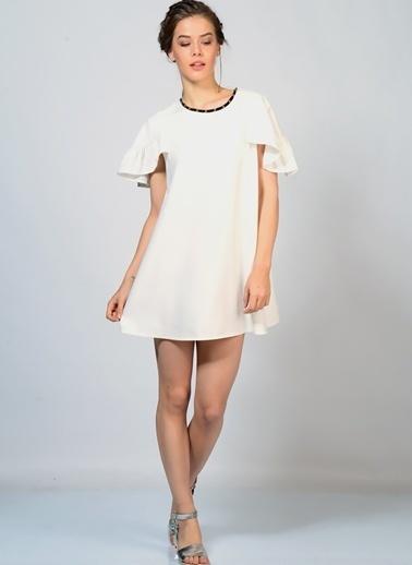 Sister Jane Volanlı Mini Elbise Krem
